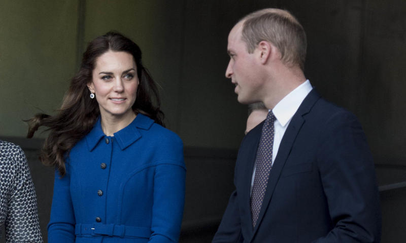 Photo by: KGC-178/STAR MAX/IPx 1/11/17 Prince William, Duke of Cambridge and Catherine, Duchess of Cambridge during a visit to the CBUK Stratford in London. CBUK is a Child Bereavement centre in London. Catherine is wearing a £1,600 Eponine blue dress coat.