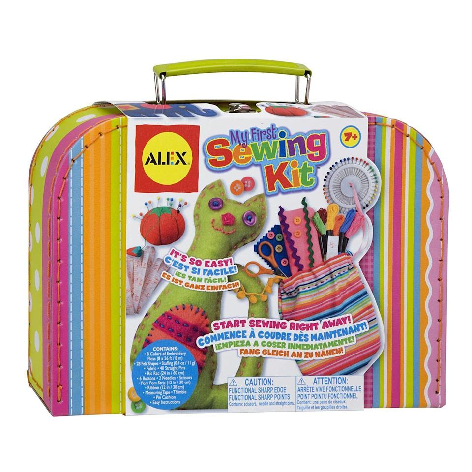"""<p><strong>ALEX Toys</strong></p><p>amazon.com</p><p><strong>$22.99</strong></p><p><a href=""""https://www.amazon.com/dp/B000F3V2MW?tag=syn-yahoo-20&ascsubtag=%5Bartid%7C10055.g.33956496%5Bsrc%7Cyahoo-us"""" rel=""""nofollow noopener"""" target=""""_blank"""" data-ylk=""""slk:Shop Now"""" class=""""link rapid-noclick-resp"""">Shop Now</a></p><p>With nearly 3,000 reviews on Amazon, this handy kit includes all the sewing essentials you need (like pins, needles, buttons, and embroidery floss) and is great for introducing the little ones to the basics of sewing — especially as illustrated, step-by-step instructions make learning so easy. <em>Ages 7–12 </em></p>"""