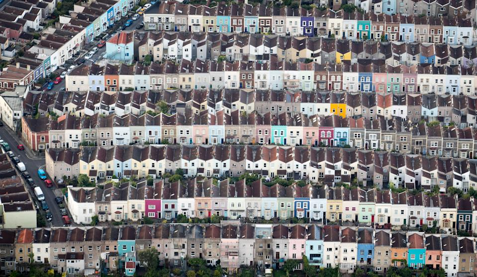 BRISTOL, ENGLAND - AUGUST 11:  Painted houses in terraced streets are seen from the air on the second day of the Bristol International Balloon Fiesta on August 11, 2017 in Bristol, England.  More than 130 balloons have gathered for the four day event, now in its 39th year and now one of Europe's largest annual hot air balloon events, being hosted in the city that is seen by many as the home of modern ballooning.  (Photo by Matt Cardy/Getty Images)
