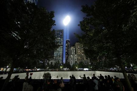 The Tribute in Light installation is illuminated over lower Manhattan as seen from The National September 11 Memorial & Museum marking the 17th anniversary of the 9/11 attacks in New York