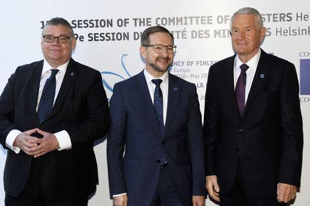 Finland's Minister of Foreign Affairs Timo Soini, OSCE Secretary General Thomas Greminger and Secretary General of the Council of Europe Thorbjorn Jagland attend The Ministers for Foreign Affairs of the Council of Europe's annual meeting in Helsinki, Finland May 17, 2019. Lehtikuva/Vesa Moilanen via REUTERS