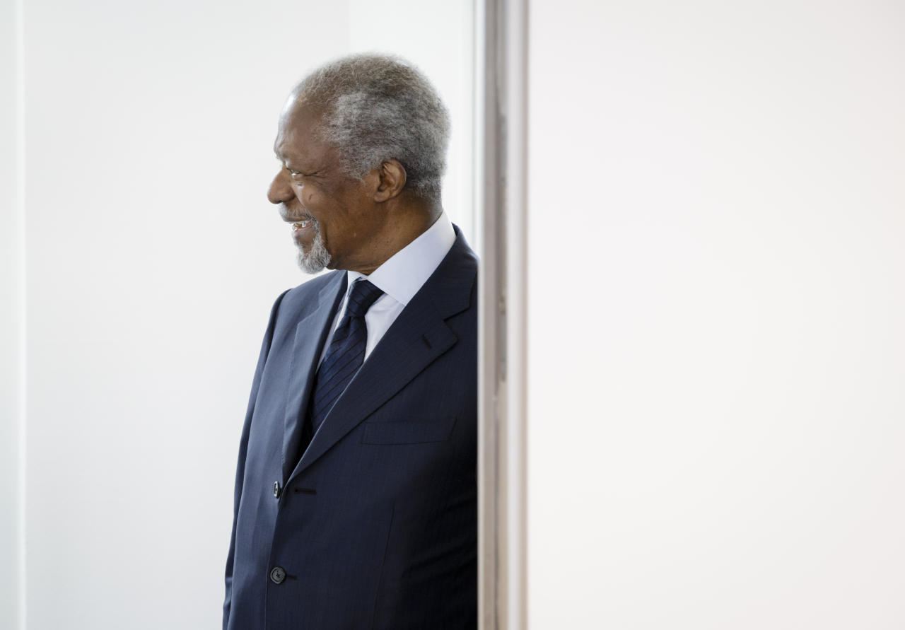 <p>Former U.N. secretary general Kofi Annan, on March 3, 2018 in Berlin, Germany. (Photo: Inga Kjer/Photothek via Getty Images) </p>