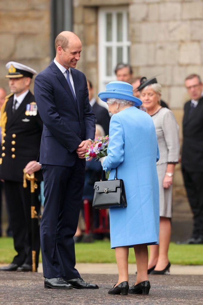 <p>William and the queen share a sweet moment at the Ceremony of the Keys at the Palace of Holyroodhouse in Edinburgh, Scotland.</p>