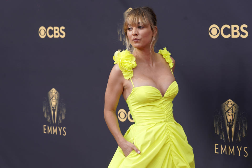 Kaley Cuoco arrives at the 73rd Primetime Emmy Awards on Sunday, Sept. 19, 2021, at L.A. Live in Los Angeles. (AP Photo/Chris Pizzello)