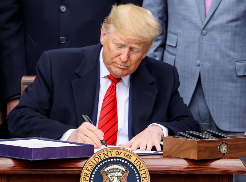 U.S. President Trump hosts signing ceremony for USMCA trade deal at the White House in Washington
