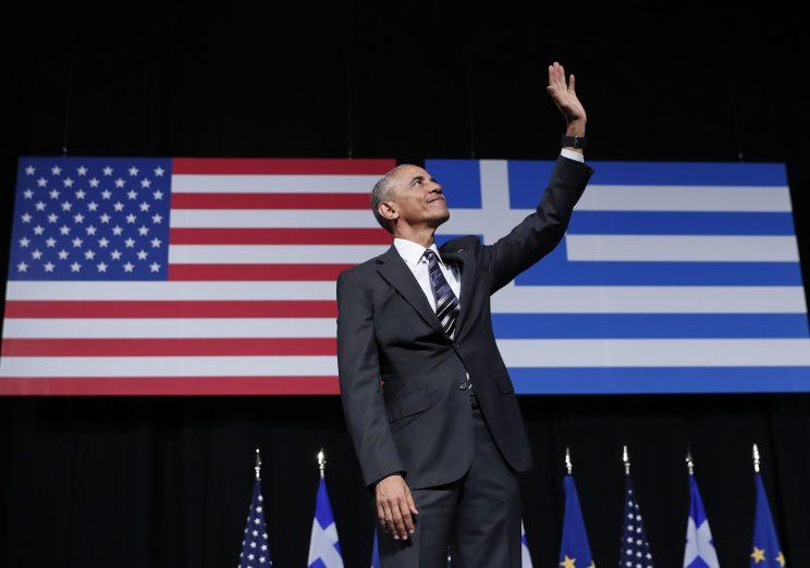 President Barack Obama makes his final appearance in Greece as the leader of the free world. (AP)