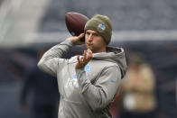 Detroit Lions quarterback Jeff Driskel throws before an NFL football game against the Chicago Bears in Chicago, Sunday, Nov. 10, 2019. (AP Photo/Charles Rex Arbogast)