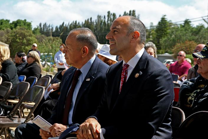 Veterans Tony Viruetta and Jimmy Panetta attend a Memorial Day ceremony in Soledad on May 27, 2019.