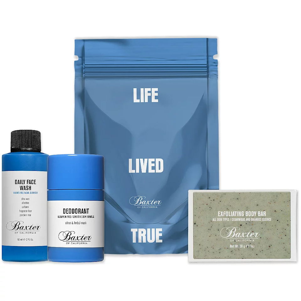 """<h3><a href=""""https://www.ulta.com/on-go-essentials-bundle-travel-size-kit?productId=pimprod2016325"""" rel=""""nofollow noopener"""" target=""""_blank"""" data-ylk=""""slk:Baxter Of California On The Go Essentials Kit"""" class=""""link rapid-noclick-resp"""">Baxter Of California On The Go Essentials Kit</a></h3><br>Staying fresh on the go has never looked better. Give the guy in your life this chic essentials kit, which comes with a daily facial wash, exfoliating body bar, and aluminum-free deodorant. <br><br><strong>Baxter of California</strong> On the Go Essentials Bundle Travel Size Kit, $, available at <a href=""""https://go.skimresources.com/?id=30283X879131&url=https%3A%2F%2Fwww.ulta.com%2Fon-go-essentials-bundle-travel-size-kit%3FproductId%3Dpimprod2016325"""" rel=""""nofollow noopener"""" target=""""_blank"""" data-ylk=""""slk:Ulta Beauty"""" class=""""link rapid-noclick-resp"""">Ulta Beauty</a>"""