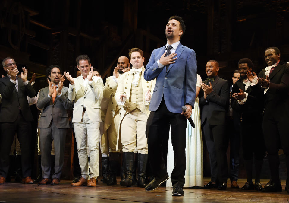 """Lin-Manuel Miranda, creator of """"Hamilton: An American Musical,"""" acknowledges applause from the audience during the curtain call on the opening night of the Los Angeles run of the show at the Pantages Theatre on Wednesday, Aug. 16, 2017, in in Los Angeles. (Photo by Chris Pizzello/Invision/AP)"""