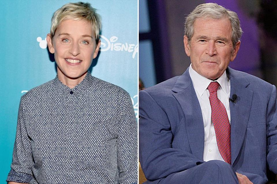 From left: Ellen DeGeneres and George W. Bush   Alberto E. Rodriguez/Getty Images; Stacie McChesney/Getty Images