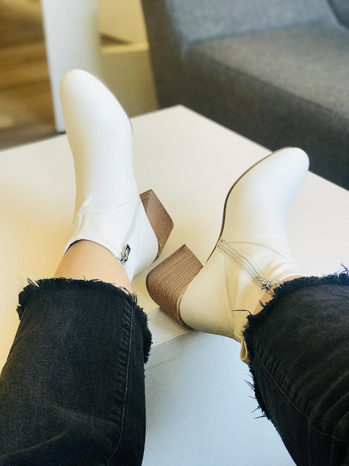 <p>These buttery-soft booties are one of the most comfortable pairs I have ever tried on - no joke. They hug your feet without constricting them, and the two-inch heel height is just right. The white boot trend is staying strong this season, and this pair is perfection. This design is an investment worth every penny.</p>
