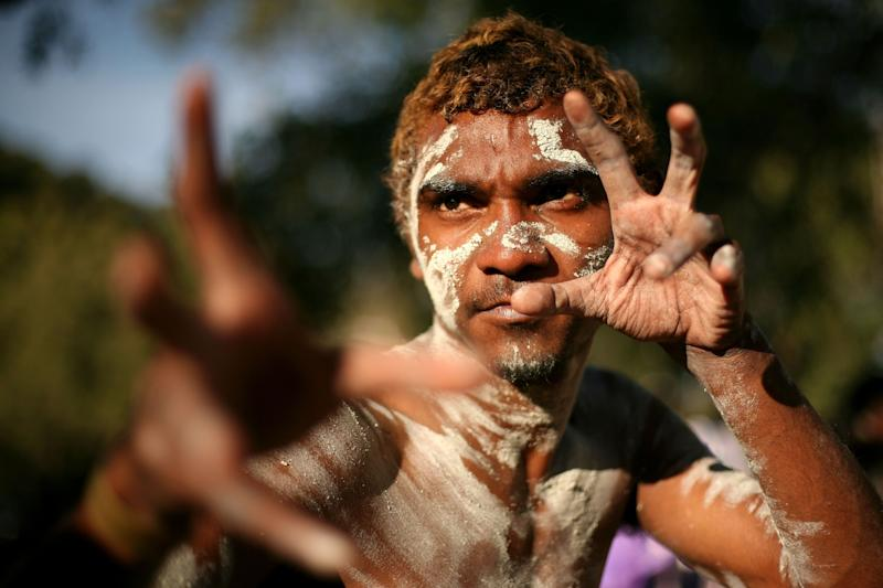 A dancer from the Yarrabah community. The community is currently under a lockdown. (Photo: Mark Kolbe Getty)