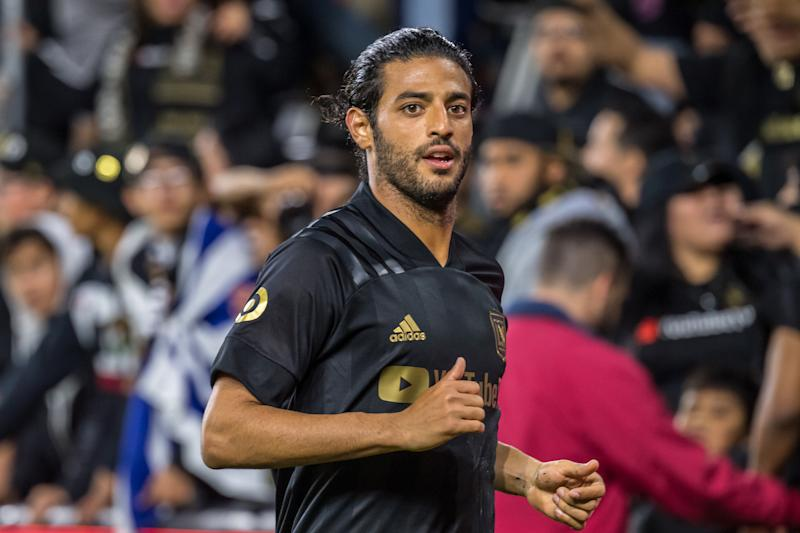 LOS ANGELES, CA - MARCH 8: Carlos Vela #10 of Los Angeles FC during Los Angeles FC's MLS match against Philadelphia Union at the Banc of California Stadium on March 8, 2020 in Los Angeles, California. The match ended in a 3-3 draw. (Photo by Shaun Clark/Getty Images)