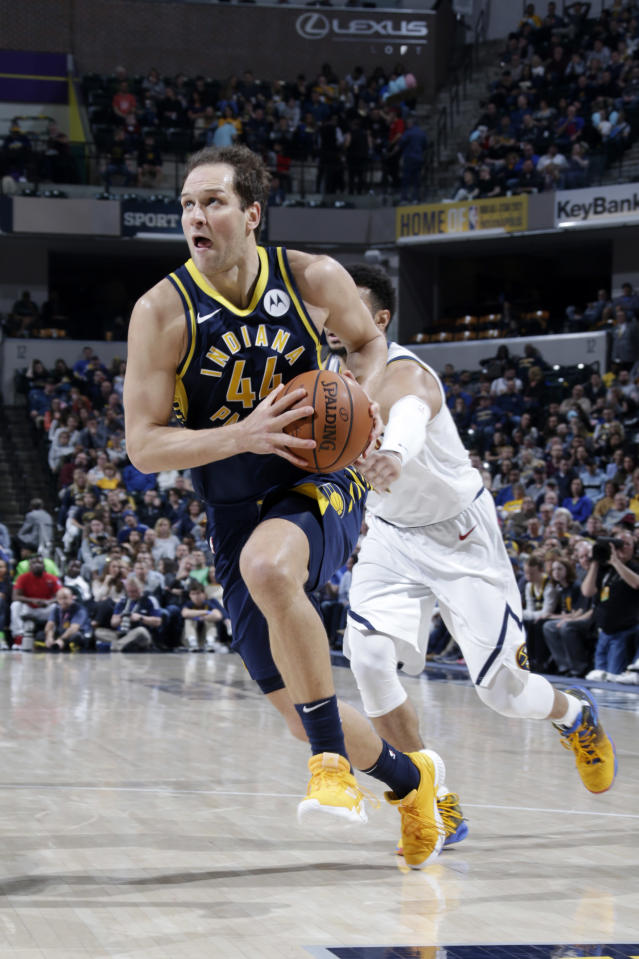 INDIANAPOLIS, IN - MARCH 24: Bojan Bogdanovic #44 of the Indiana Pacers drives to the basket against the Denver Nuggets on March 24, 2019 at Bankers Life Fieldhouse in Indianapolis, Indiana. (Photo by Ron Hoskins/NBAE via Getty Images)