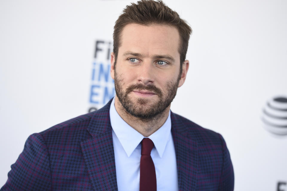 Armie Hammer arrives at the 34th Film Independent Spirit Awards on Saturday, Feb. 23, 2019, in Santa Monica, Calif. (Photo by Jordan Strauss/Invision/AP)