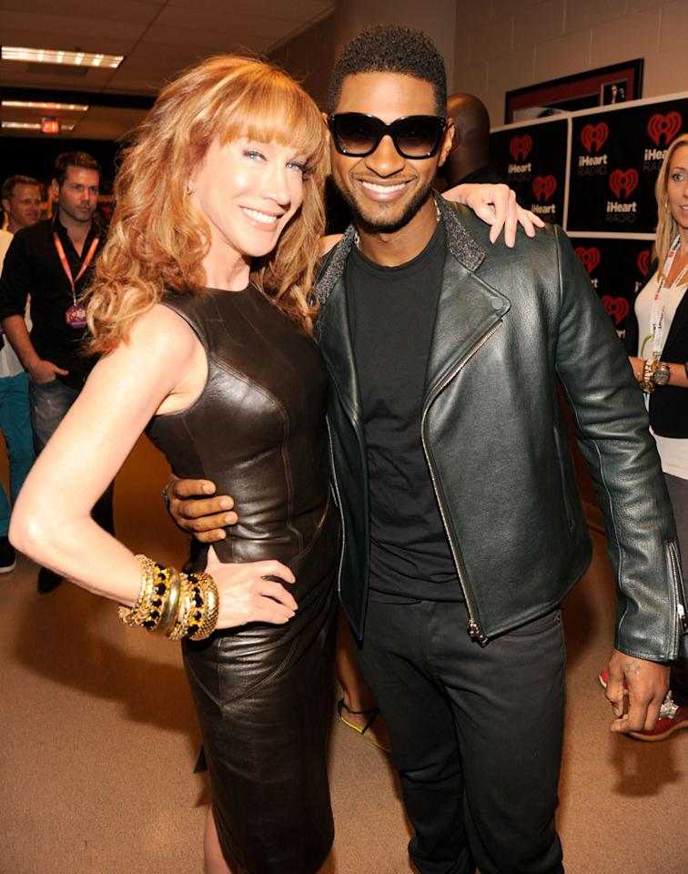 LAS VEGAS, NV - SEPTEMBER 21:  Kathy Griffin and Usher backstage during the 2012 iHeartRadio Music Festival at MGM Grand Garden Arena on September 21, 2012 in Las Vegas, Nevada.  (Photo by Kevin Mazur/WireImage)