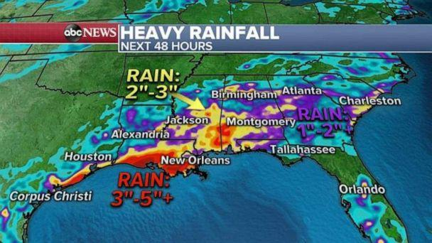 PHOTO: The heaviest rain will be from southern Louisiana to Alabama where up to 5 inches of rain could accumulate. (ABC News)
