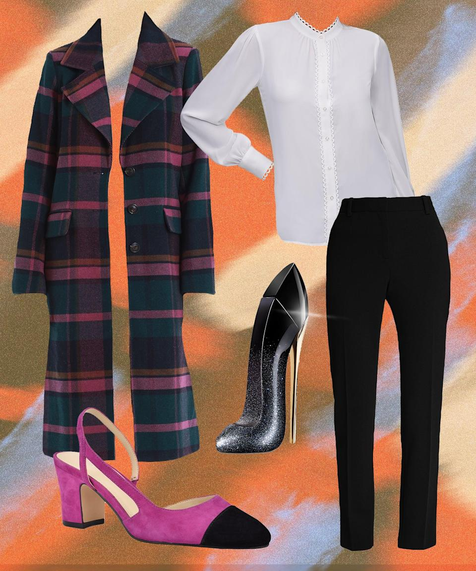 """A surprise mix of vibrant pinks, blues, and mustard puts a twist on traditional checks, while updating a cozy longline coat you'll want to wear over everything. Here, that's a classic-with-a-twist white shirt and black trousers, paired with cap-toe sling-backs (and a sophisticated fragrance) to bring all the elements together.<br><br><strong>Avec Les Filles</strong> Plaid Walker Coat, $, available at <a href=""""https://go.skimresources.com/?id=30283X879131&url=https%3A%2F%2Fwww.macys.com%2Fshop%2Fproduct%2Favec-les-filles-plaid-walker-coat-created-for-macys%3FID%3D11249550%26CategoryID%3D269"""" rel=""""nofollow noopener"""" target=""""_blank"""" data-ylk=""""slk:Macy's"""" class=""""link rapid-noclick-resp"""">Macy's</a><br><br><strong>Calvin Klein</strong> Scalloped-Trim Blouse, $, available at <a href=""""https://go.skimresources.com/?id=30283X879131&url=https%3A%2F%2Fwww.macys.com%2Fshop%2Fproduct%2Fcalvin-klein-scalloped-trim-blouse%3FID%3D11334353%26CategoryID%3D255"""" rel=""""nofollow noopener"""" target=""""_blank"""" data-ylk=""""slk:Macy's"""" class=""""link rapid-noclick-resp"""">Macy's</a><br><br><strong>DKNY</strong> Stretch Crepe Essex Straight-Leg Dress Pants, $, available at <a href=""""https://go.skimresources.com/?id=30283X879131&url=https%3A%2F%2Fwww.macys.com%2Fshop%2Fproduct%2Fdkny-stretch-crepe-essex-straight-leg-dress-pants%3FID%3D9757294%26CategoryID%3D157%26swatchColor%3DBlack"""" rel=""""nofollow noopener"""" target=""""_blank"""" data-ylk=""""slk:Macy's"""" class=""""link rapid-noclick-resp"""">Macy's</a><br><br><strong>Marc Fisher</strong> Laynie Slingback Pumps, $, available at <a href=""""https://go.skimresources.com/?id=30283X879131&url=https%3A%2F%2Fwww.macys.com%2Fshop%2Fproduct%2Fmarc-fisher-laynie-slingback-pumps%3FID%3D10125863%26CategoryID%3D26481%26swatchColor%3DTropic%2520Violet%252Fblack"""" rel=""""nofollow noopener"""" target=""""_blank"""" data-ylk=""""slk:Macy's"""" class=""""link rapid-noclick-resp"""">Macy's</a><br><br><strong>Carolina Herrera</strong> Good Girl Suprême Eau de Parfum Fragrance Collection, $, available at <a href=""""https:"""