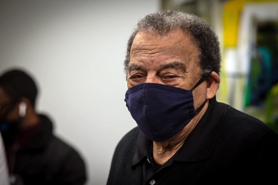 Andrew Young, former U.S. Ambassador to the United Nations watches after he received his COVID-19 vaccination on Tuesday, Jan. 5, 2021, at the Morehouse School of Medicine in Atlanta. Young, baseball great Hank Aaron and others received their vaccinations in an effort to highlight the importance of getting vaccinated for Black Americans who might be hesitant to do so. (AP Photo/Ron Harris)