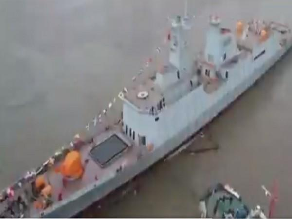 China has launched the Type-054 class frigate for Pakistan. (Video grab: Pakistan Navy Spokesperson Twitter)