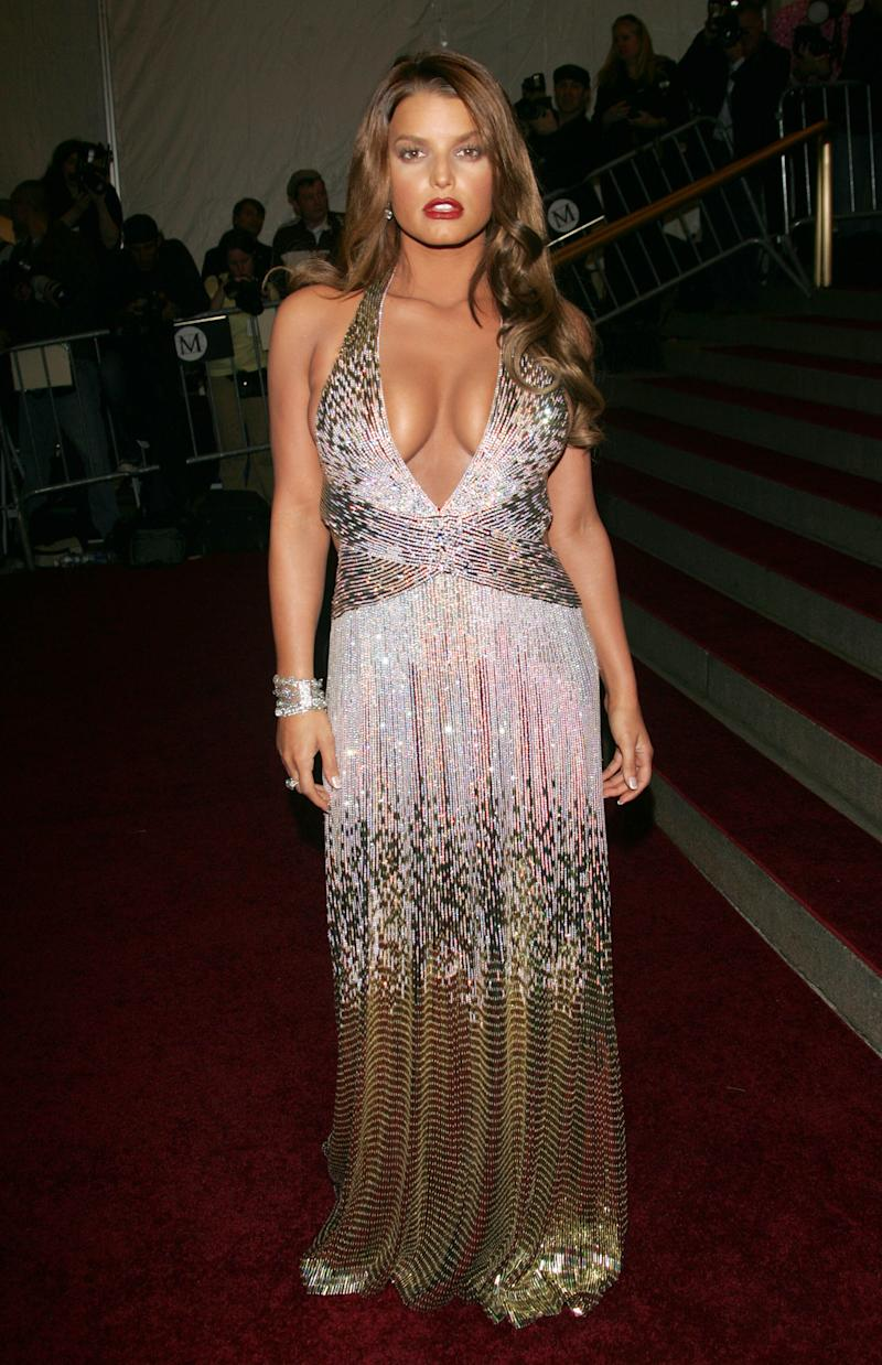 Simpson wore a plunging Roberto Cavalli gown to the 2007 Met Gala. (Photo by Evan Agostini/Getty Images)
