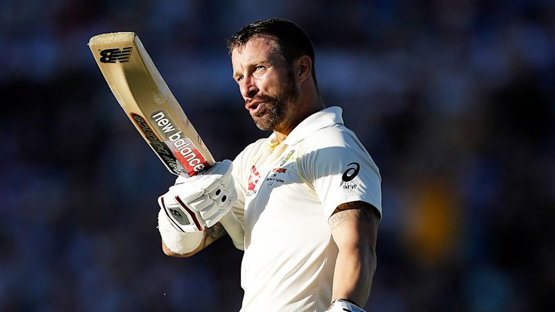 Matthew Wade celebrates a century in the fifth Ashes Test.