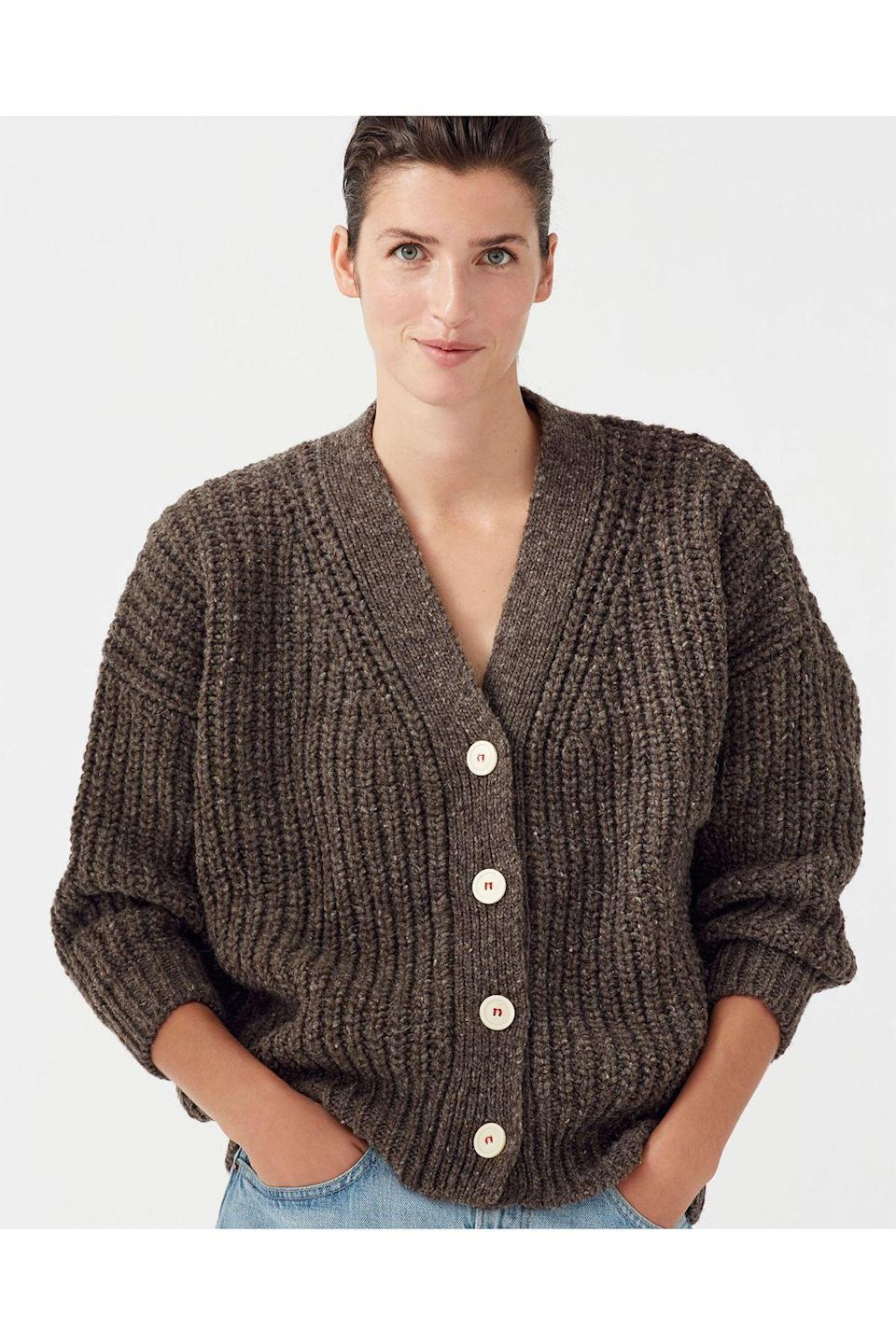 """<p><strong>Babaã</strong></p><p>babaa.es</p><p><strong>230.00</strong></p><p><a href=""""https://babaa.es/shop/women/women-cardigans/cardigan-woman-no19-oak/"""" rel=""""nofollow noopener"""" target=""""_blank"""" data-ylk=""""slk:Shop Now"""" class=""""link rapid-noclick-resp"""">Shop Now</a></p><p>All Babaà wool is 100% natural, and pieces are made locally in Spain by artisans. Also, samples are donated to CEAR, a refugee center in Getafe, Madrid.</p>"""