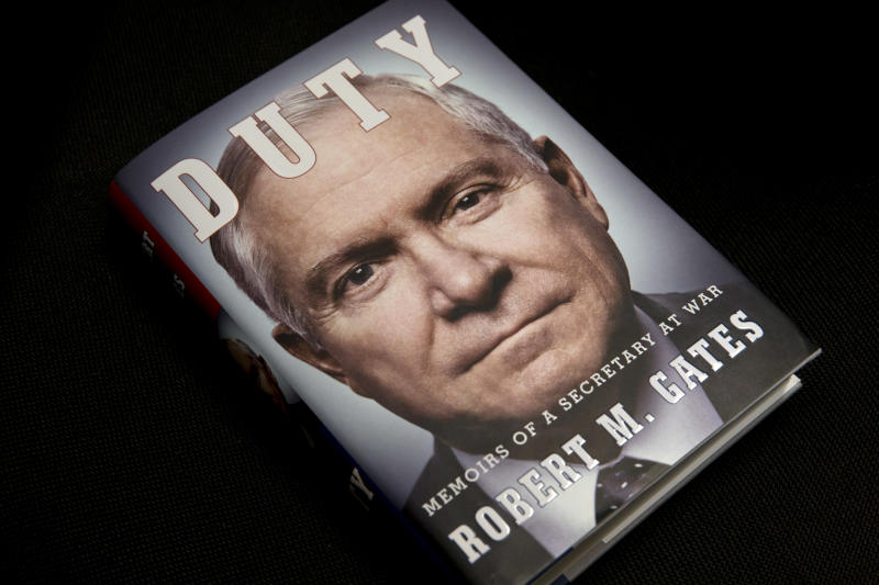"The book entitled: ""Duty: Memoirs of a Secretary of War,"" by former Defense Secretary Robert Gates is seen in Washington, Wednesday, Jan. 8, 2014. The White House is bristling over former Defense Secretary Robert Gates' new memoir accusing President Barack Obama of showing too little enthusiasm for the U.S. war mission in Afghanistan and sharply criticizing Vice President Joe Biden's foreign policy instincts. (AP Photo/Jacquelyn Martin)"