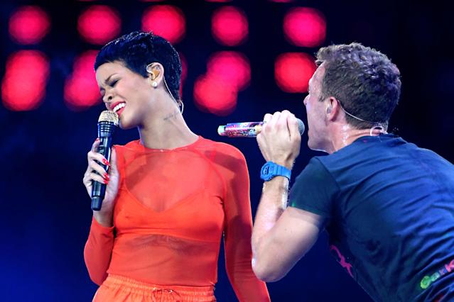 LONDON, ENGLAND - SEPTEMBER 09: Rihanna performs with Chris Martin of Coldplay during the closing ceremony on day 11 of the London 2012 Paralympic Games at Olympic Stadium on September 9, 2012 in London, England. (Photo by Peter Macdiarmid/Getty Images)