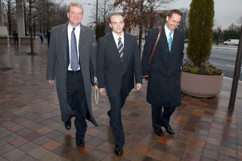 Former Blackwater security guard Nicholas Slatten (C), seen here in 2009, could face retrial as early as May, The Washington Post reported