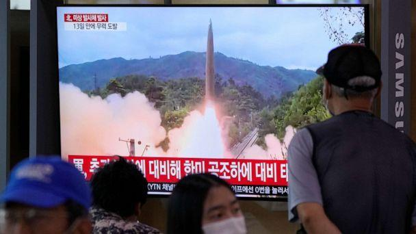 PHOTO: People watch a news program on a television at the railway station in Seoul, South Korea, showing a file image of North Korea's missile launch on Sept. 28, 2021. (Ahn Young-joon/AP)