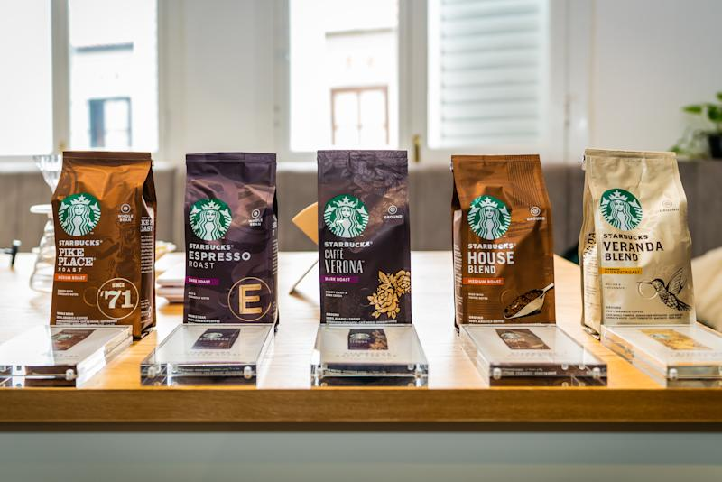 Whole bean and roast and ground packaged coffees (PHOTO: Starbucks Singapore)