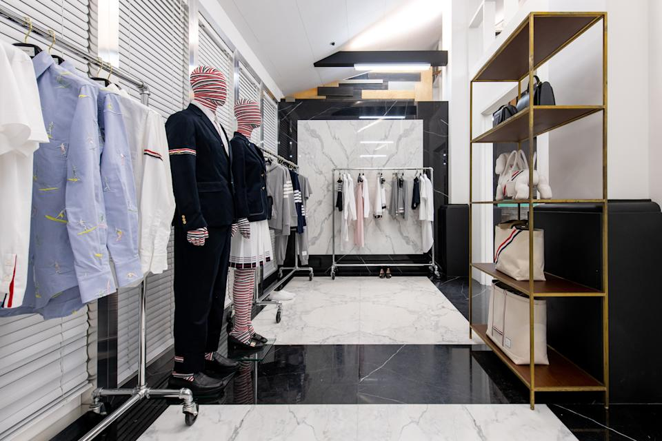 <p>A section of Thom Browne's display. (PHOTO: Dover Street Market Singapore)</p>
