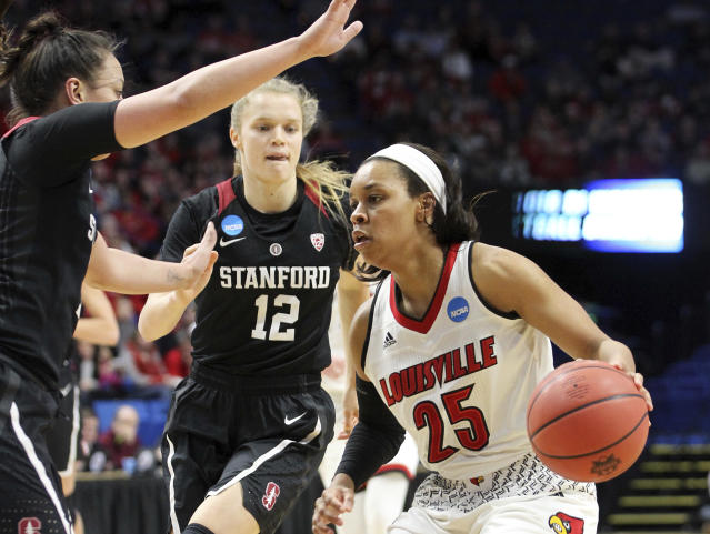 Louisville's Asia Durr (25) looks for an opening as Stanford's Kaylee Johnson, left, and Brittany McPhee defend during the first half of an NCAA women's college basketball tournament regional semifinal Friday, March 23, 2018, in Lexington, Ky. (AP Photo/James Crisp)