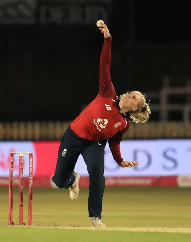 Sarah Glenn bowling against the West Indies in Derby.