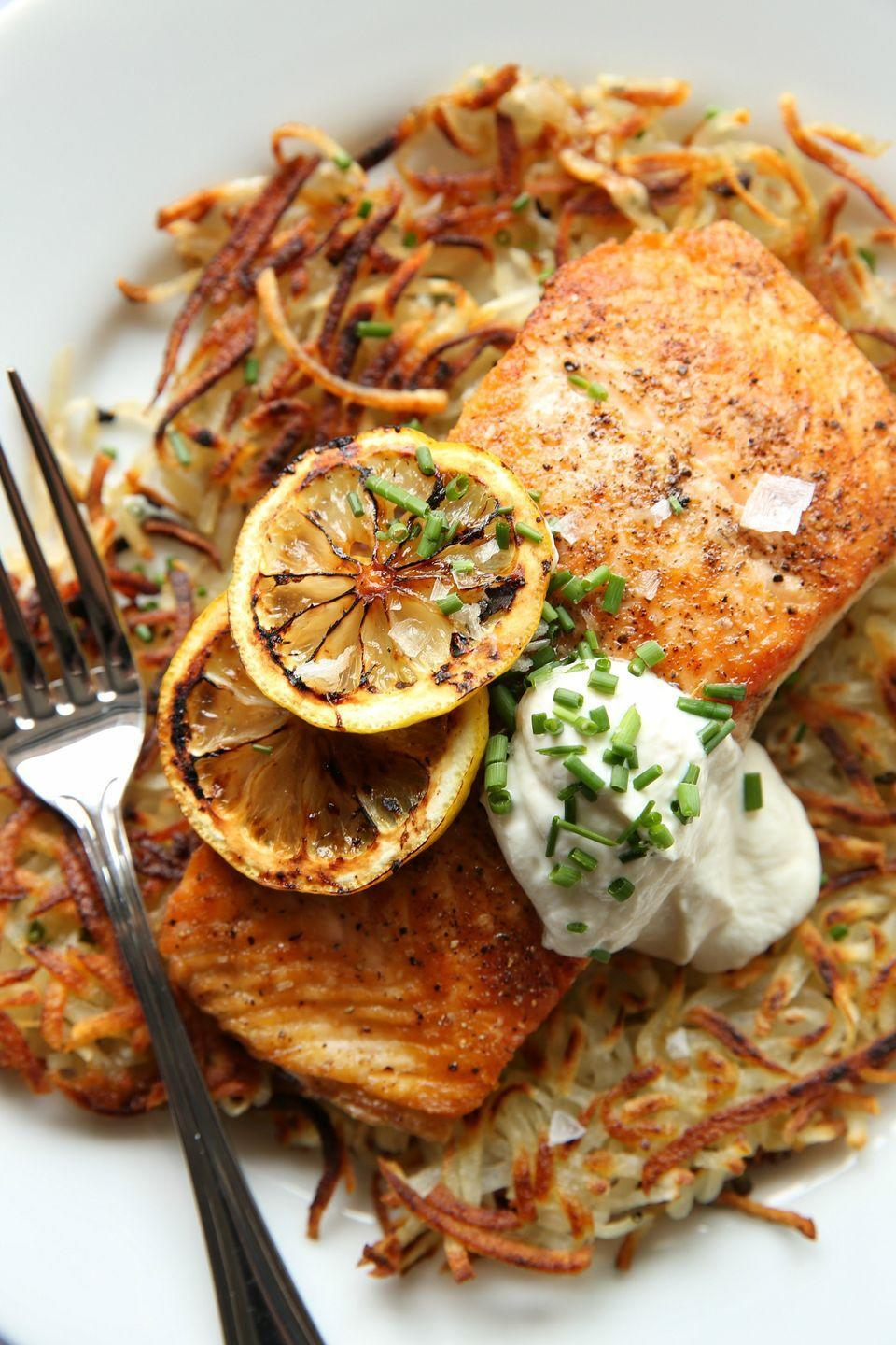 "<p>Salmon with crispy potato pancakes has us feeling brunch-y vibes.</p><p>Get the recipe from <a href=""https://www.delish.com/cooking/recipe-ideas/recipes/a47005/seared-salmon-with-potato-pancakes-and-yogurt-sauce-recipe/"" rel=""nofollow noopener"" target=""_blank"" data-ylk=""slk:Delish"" class=""link rapid-noclick-resp"">Delish</a>.</p>"
