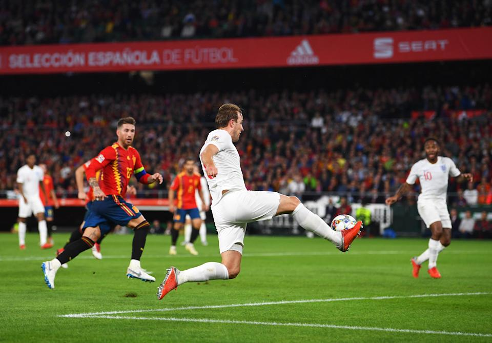 Kane set up two goals, including Sterling's second here