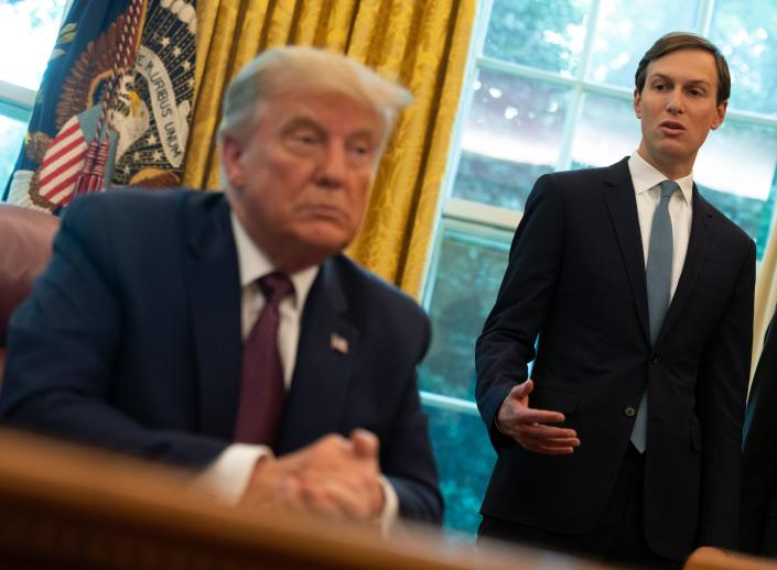 President Trump and senior adviser Jared Kushner in the Oval Office. (Andrew Caballero-Reynolds/AFP via Getty Images)