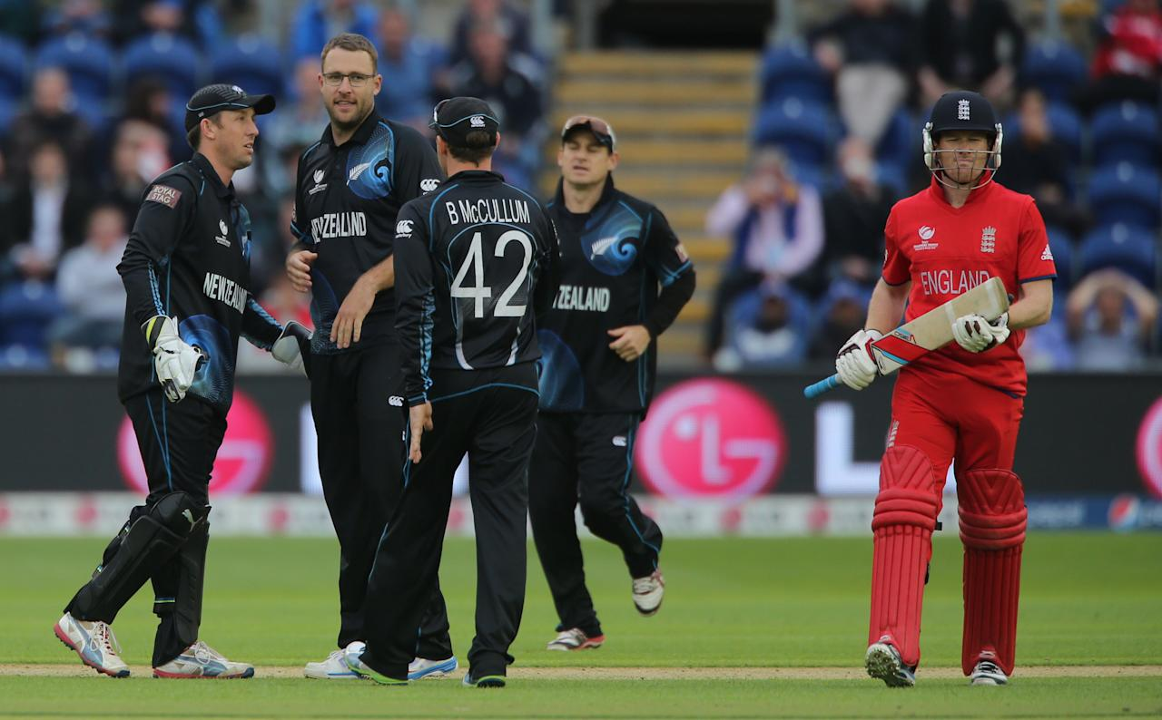 New Zealand bowler Daniel Vettori celebrates trapping England's Eoin Morgan LBW during the ICC Champions Trophy match at the SWALEC Stadium, Cardiff.