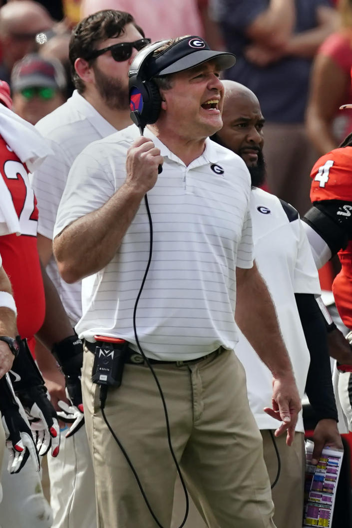 Georgia head coach Kirby Smart yells from the sideline during the second half of an NCAA college football game against Arkansas Saturday, Oct. 2, 2021, in Athens, Ga.. (AP Photo/John Bazemore)