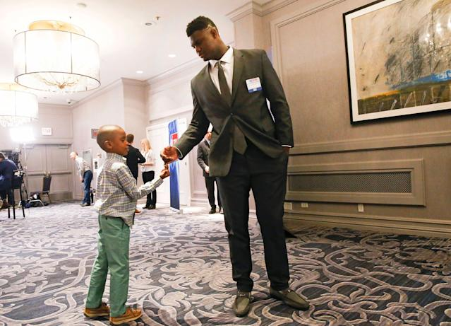 Duke's Zion Williamson stands with his younger brother, Noah Anderson, before the NBA draft lottery Tuesday in Chicago. (AP Photo/Nuccio DiNuzzo)