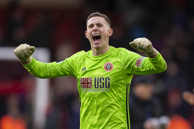 Dean Henderson of Sheffield United celebrates. (Photo by Daniel Chesterton/Offside/Offside via Getty Images)