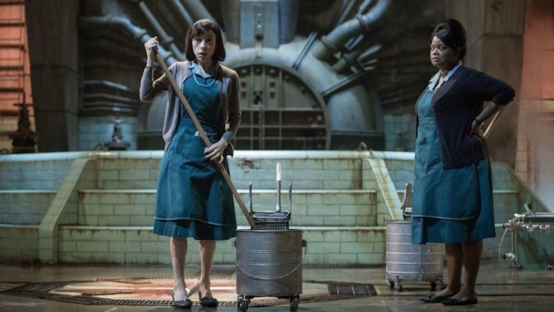 Elisa (Hawkins) and Zelda (Octavia Spencer), two women who clean at a top-secret research facility. (Fox Searchlight/Twentieth Century Fox)