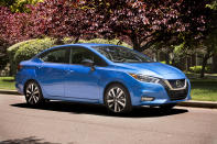 """This undated photo provided by Nissan shows the 2020 Nissan Versas. For 2020, the redesigned Versa is ditching its """"cheapest car"""" crown in favor of a nicer experience and more technology, and that technology makes the Versa significant. (Nissan North America via AP)"""