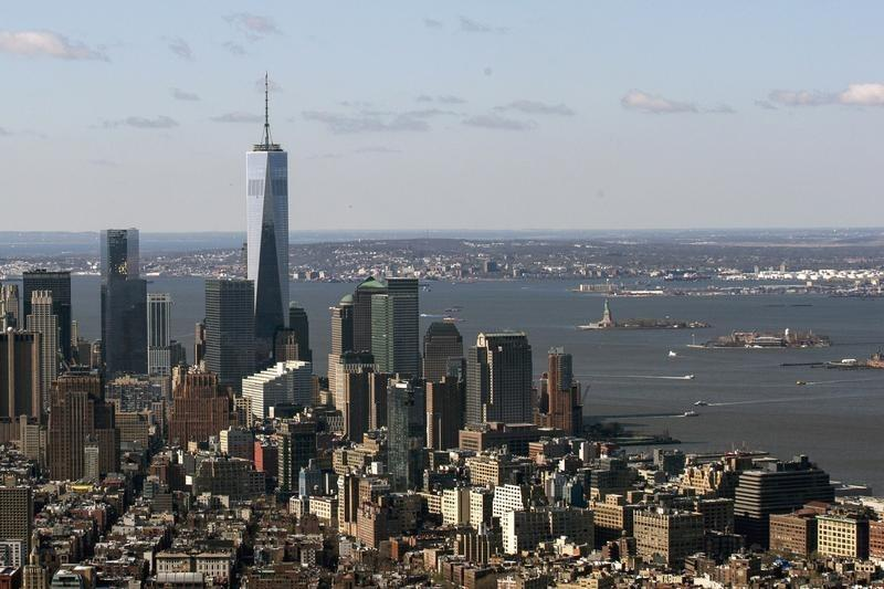 One World Trade Center towers over lower Manhattan in New York