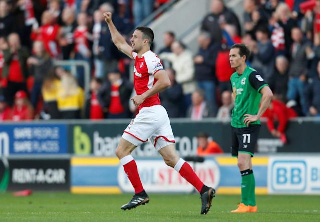"Soccer Football - League One Play Off Semi Final Second Leg - Rotherham United vs Scunthorpe United - AESSEAL New York Stadium, Rotherham, Britain - May 16, 2018 Rotherham United's Richard Wood celebrates scoring their first goal Action Images/Ed Sykes EDITORIAL USE ONLY. No use with unauthorized audio, video, data, fixture lists, club/league logos or ""live"" services. Online in-match use limited to 75 images, no video emulation. No use in betting, games or single club/league/player publications. Please contact your account representative for further details."