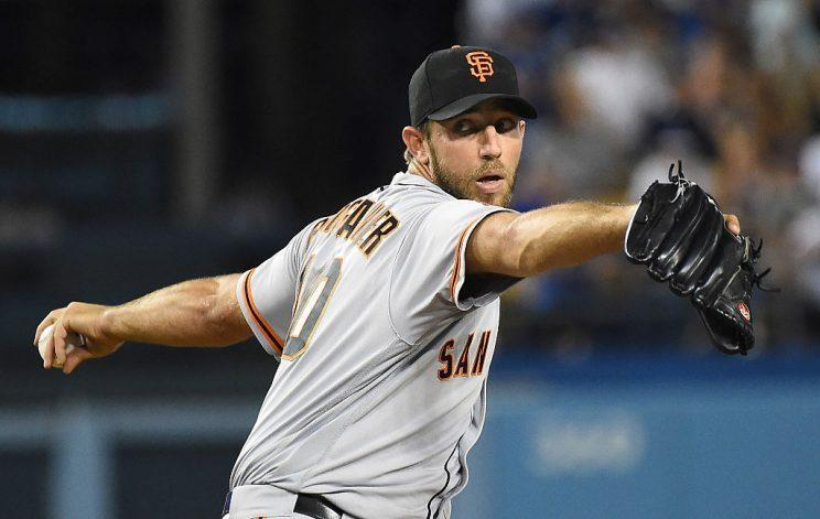 LOS ANGELES, CA - SEPTEMBER 19: Madison Bumgarner #40 of the San Francisco Giants pitches in the second inning of the game against the Los Angeles Dodgers at Dodger Stadium on September 19, 2016 in Los Angeles, California. (Photo by Jayne Kamin-Oncea/Getty Images)