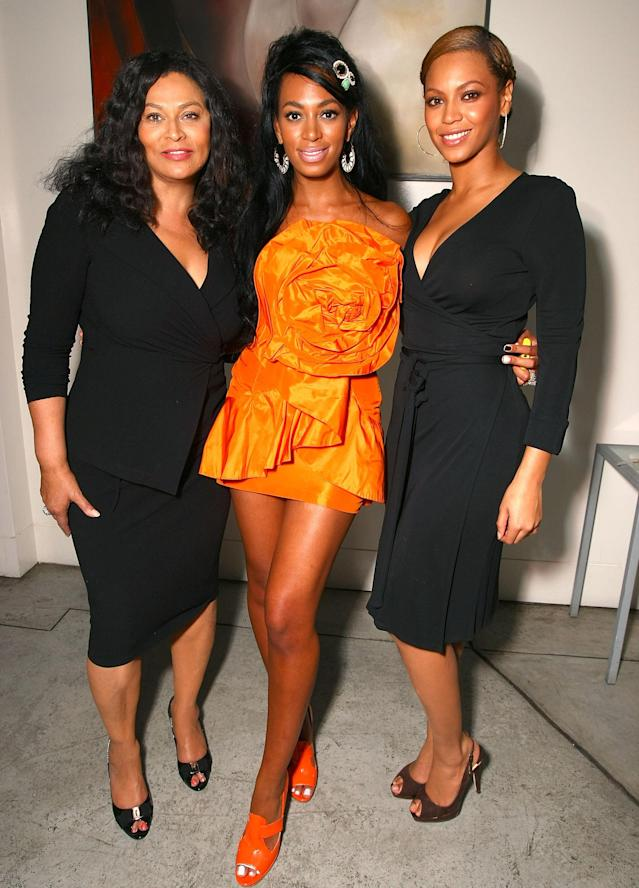 (L-R) Designer Tina Knowles, recording artist Solange Knowles and recording artist Beyonce Knowles attend recording artist Solange Knowles' birthday party held at a private residence on June 23, 2008 in Los Angeles, California. (Photo by Alberto E. Rodriguez/Getty Images for Geffen Records)
