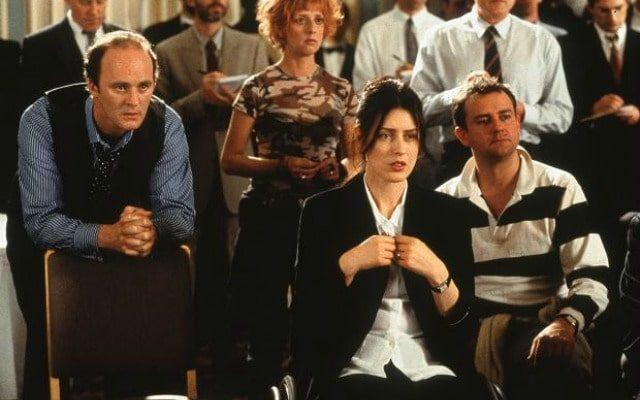 Eurgh: Tim McInnerny, Emma Chambers, Gina McKee and Hugh Bonneville in Notting Hill - Credit: Universal